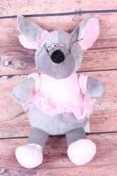 Plyšová hračka MYŠ - ružovo-sivá (v. 35 cm)