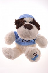Plyšová hračka PSÍK v modrom tričku - biely (30 cm)