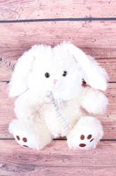 Plyšová hračka ZAJKO s mašľou - krémová (v. 20 cm)