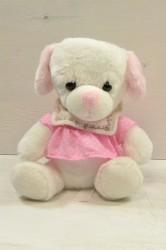 Plyšový macko v ružových šatách - biely (v. 22 cm)