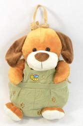 Plyšový vak psík v zelených nohaviciach - hnedý (v. 38 cm)
