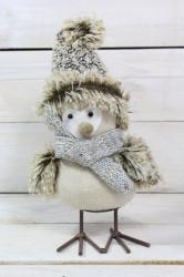 Plyšový vtáčik v zimnom oblečení (v. 23 cm)