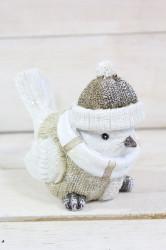 Postavička vtáčik v zimnom oblečení - trblietavý (v. 12 cm) 2.