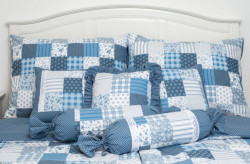 Posteľné obliečky - PATCHWORK modré (2ks 70x90cm, 2ks 140x200cm) #1