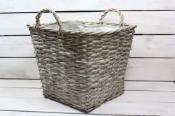 Prútený košík (31x25,5x31 cm) - sivý