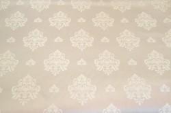 Saténová látka - biely vzor - sivá (š. 160 cm)