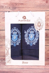 Set uterákov v darčekovom balení ERB - tmavomodrý (50x80 cm, 70 x130 cm)