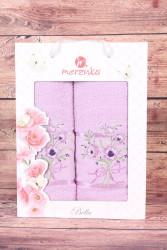 Set uterákov v darčekovom balení - fialová KYTICA(50x80 cm, 70 x130 cm)