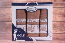 Set uterákov v darčekovom balení GOLF orieškový (2 ks 50x90cm, 1 ks 70x140 cm)