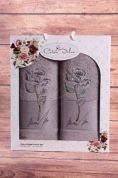 Set uterákov v darčekovom balení RUŽA sivá 2 (50x90cm, 70x140 cm)