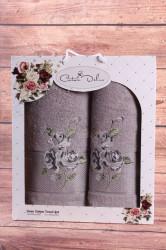 Set uterákov v darčekovom balení RUŽE sivé(50x90cm, 70x140 cm)