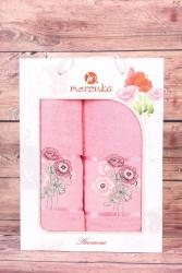 Set uterákov v darčekovom balení - ružová KYTICA(50x80 cm, 70 x130 cm)