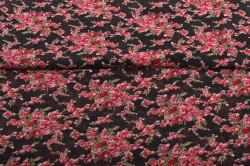Šifon čierny s bordovými ružami - Soňa (m) - š.150