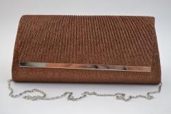 Spoločenská kabelka bronzová so strieborným lemom (27x12 cm)