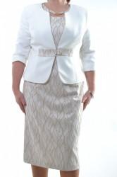 Spoločenské šaty s kabátikom béžové so zlatou ozdobou 2786caa0e8a