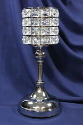 Strieborný svietnik s kamienkami (v. 32 cm)