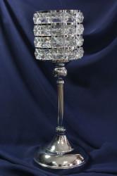Strieborný svietnik so kamienkami (v. 37 cm)