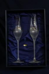 Svadobné poháre na šampanské s platinovým gravírovaním a s kamienkami (210 ml)