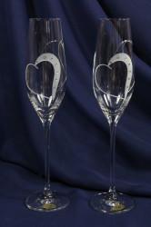 Svadobné poháre na ŠAMPANSKÉ so swarovski krištáľmi (210 ml) VZOR 14. #1