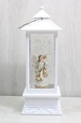Svietnik s anjelikom a padajúcim snehom (v. 28 cm)