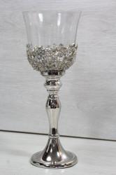 Svietnik s kamienkami a so sklom - strieborný (v. 27 cm)