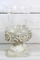 Svietnik s ružami na podstavci so sklom (v. 26,5 cm, p. 9 cm)