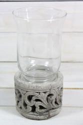 Svietnik so sklom a s motívom (v. 2,5 cm, p. 9 cm)