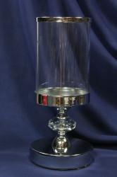 Svietnik so sklom na podstavci - strieborný (v. 28 cm)