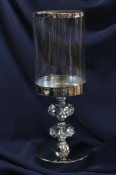 Svietnik so sklom na podstavci - strieborný (v. 30 cm)