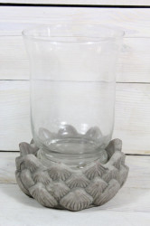 Svietnik so sklom - sivý (v. 18,5 cm, p. 6 cm)