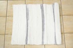 Tkaný koberec so striebornými pásikmi - biely (70x100 cm)