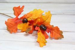 Umelá jesenná dekorácia - listy so žaluďmi 2. (v. 60 cm)