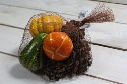 Umelá jesenná dekorácia TEKVICE a ŠIŠKY vo vreci