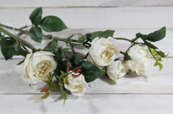 Umelá kytica RUŽÍ - biela (v. 69 cm)