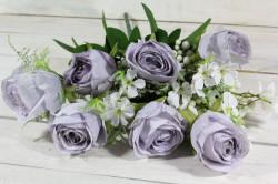 Umelá kytica RUŽÍ - bledofialová (v. 53 cm)