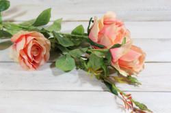 Umelá kytica RUŽÍ - broskyňová (v. 103 cm) #1