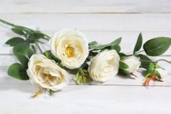 Umelá kytica RUŽÍ - krémová (v. 95 cm)