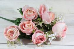 Umelá kytica RUŽÍ - ružová (v. 53 cm)