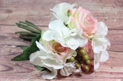 Umelá kytica ružových RUŽÍ a bielych HORTENZIÍ (v. 27 cm)