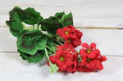 Umelá kytička PELARGÓNIA - červená (v. 26 cm)