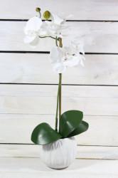 Umelá ORCHIDEA v črepníku - biela 2. (v. 40 cm)