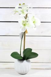 Umelá ORCHIDEA v črepníku - bielo-zelená (v. 40 cm)