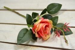 Umelá ruža - oranžovo-červená (v. 43 cm)