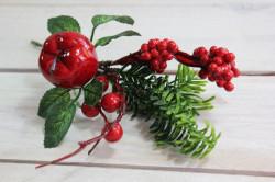 Umelá vetvička s červenými bobuľami a s jablčkom (v. 20 cm)