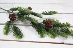 Umelá vetvička so šiškami - zelená (v. 63 cm)