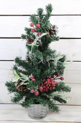 Umelý vianočný stromček v prútenom košíku - trblietavý (v. 44 cm)