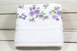 Uterák froté s fialovými kvetmi (49x91 cm) - biely VZOR 30