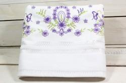 Uterák froté s fialovými kvetmi (49x92 cm) - biely VZOR 28