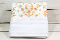 Uterák froté s oranžovými kvetmi (49x92 cm) - biely VZOR 28
