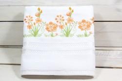Uterák froté s oranžovými kvetmi (50x92 cm) - biely VZOR 29